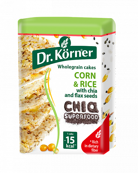 Dr.Korner square Crispbread  corn&rice with chia and flax100g