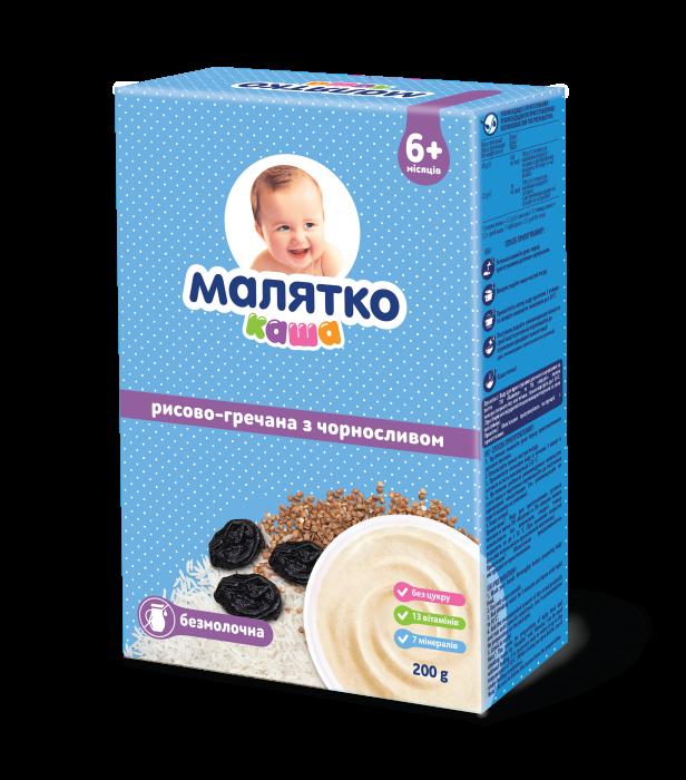 Malyatko porridge dairy-free RICE-buckwheat with black plum 200g