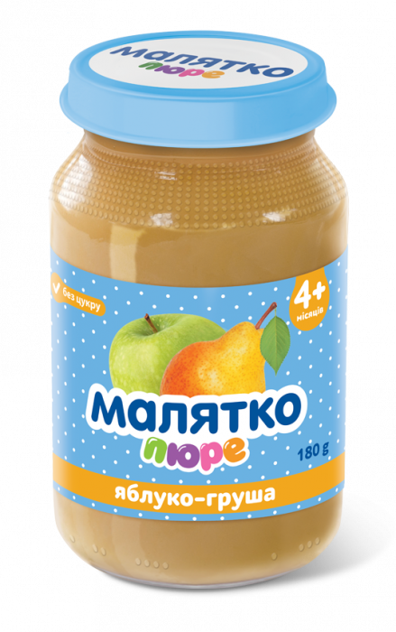 Malyatko natural puree PEAR-APPLE 180g