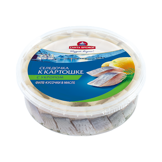 """Santa Bremor Herring fillets """"Herring to potatoes"""" with dill in oil Mass - 500 g"""