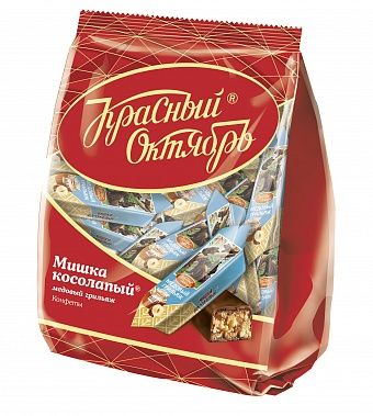 """Krasny Oktyabr  chocolate candies """"Mishka"""" Grillage with honey and nuts 200g"""